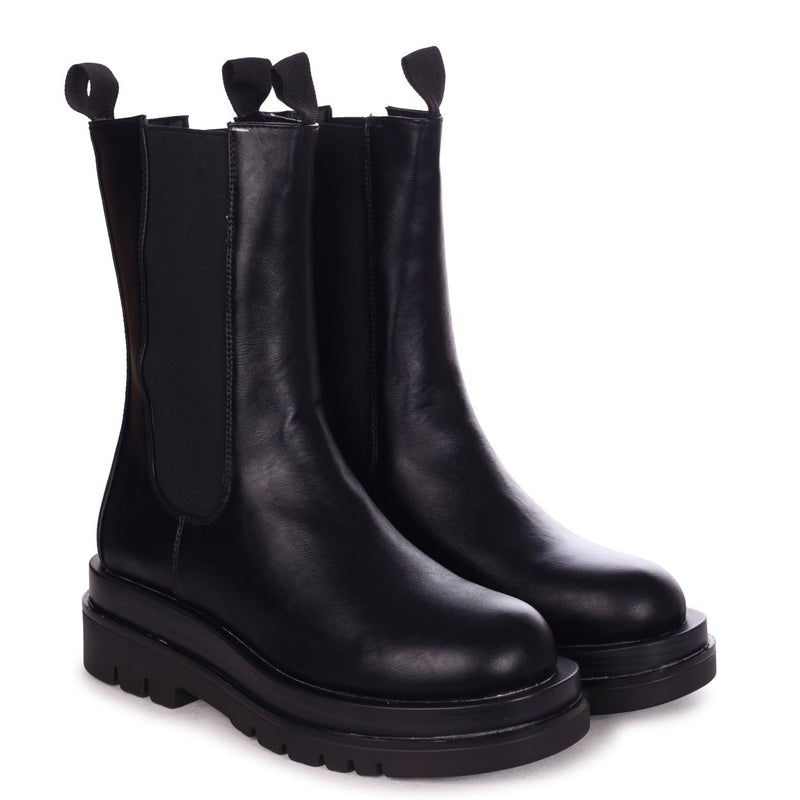 ICON - Black Nappa Long Chelsea Boot With Exaggerated Sole