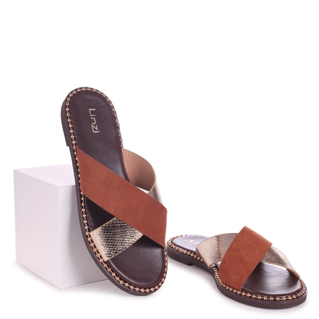 LAVINIA - Tan & Gold Slip On Slider With Crossover Front Strap
