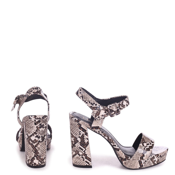 ARETHA - Snake Print Platform Barely There Heel