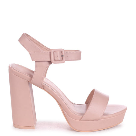 LOLLIE - Rose Gold Metallic Heavy Glitter Block Heeled Sandal