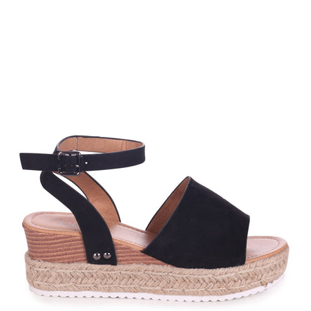 DANIELLE - Black Lizard Rope Platform Wedge With Perspex Front Strap