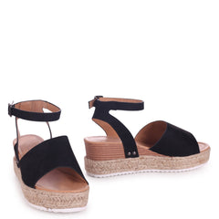TIMELESS - Black Suede Two Part Espadrille Inspired Platform Wedge