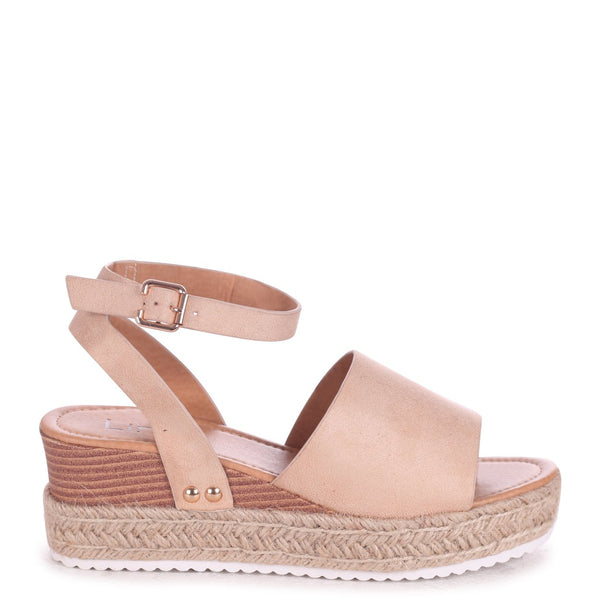 TIMELESS - Nude Suede Two Part Espadrille Inspired Platform Wedge