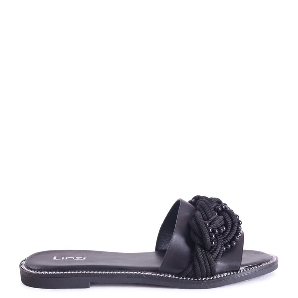 LEETA - Black Slip On Slider With Plaited Rope & Pearl Front Strap