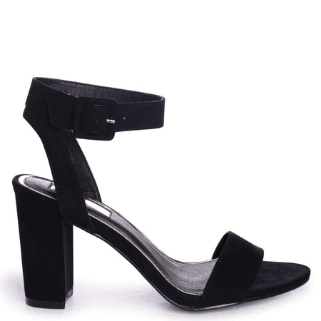 74c31b87af0f6 MELANIE - Tan Nappa Tie Up Flatform with All Over Floral Detail. MILLIE -  Black Suede Open Toe Block Heel With Ankle Strap And Buckle Detail