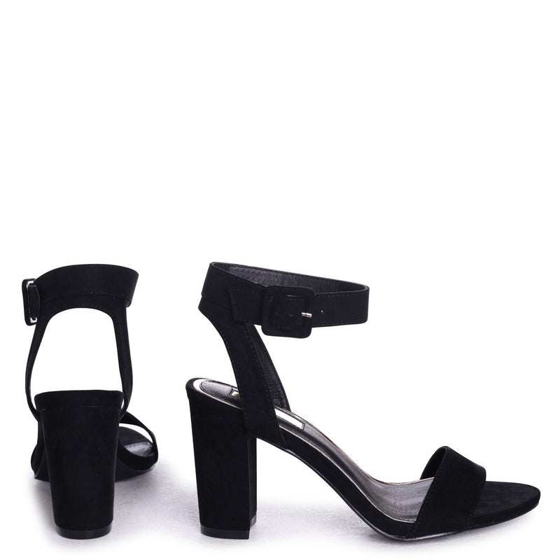 MILLIE - Black Suede Open Toe Block Heel With Ankle Strap And Buckle Detail