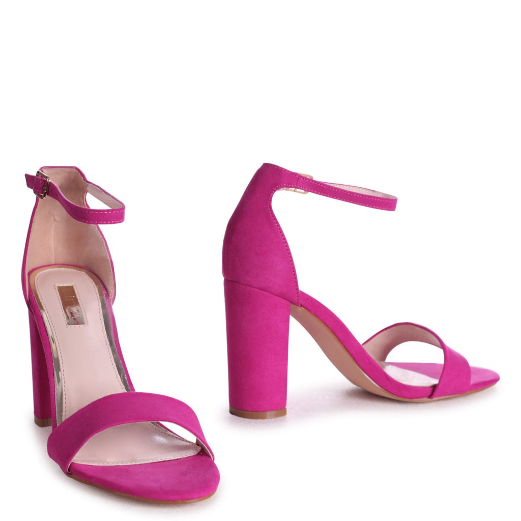 NELLY - Hot Pink Suede Suede Single Sole Block Heel