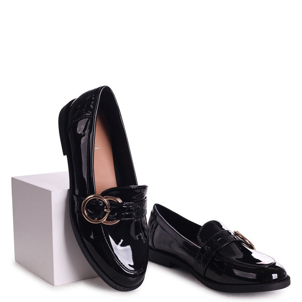 ROSIE - Black Patent & Patent Croc Slip On Loafer With Large Buckle Detail