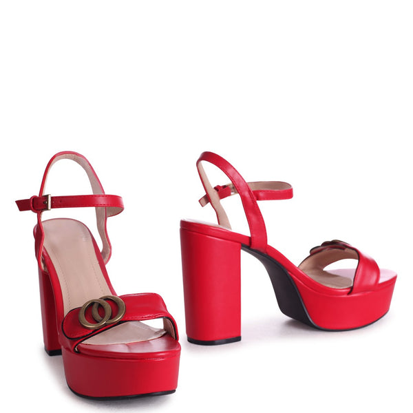 FAYE - Red Nappa Platform With Scallop Front Strap & Gold Buckle