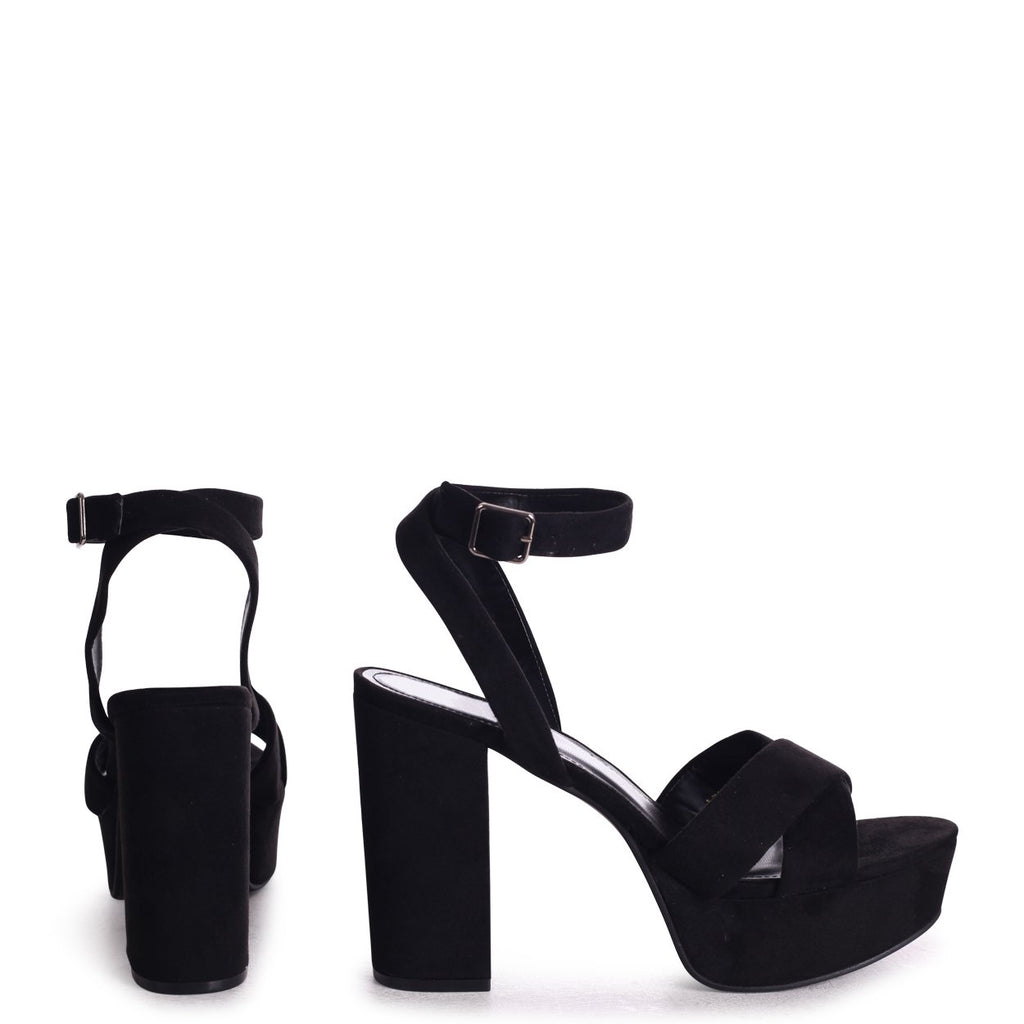 LEONORA - Black Suede Platform With Crossover Front Strap