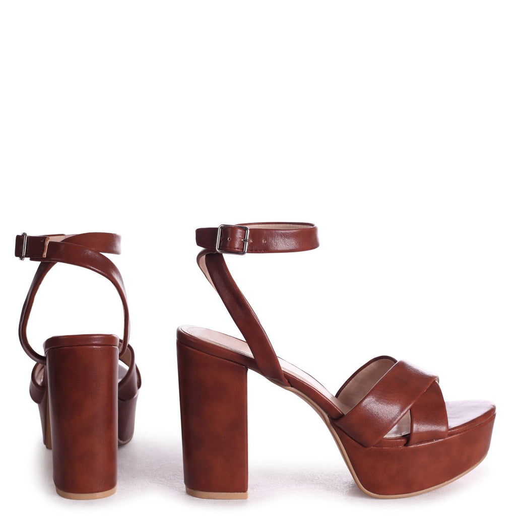 LEONORA - Tan Nappa Platform With Crossover Front Strap