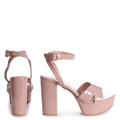 LEONORA - Nude Patent Platform With Crossover Front Strap