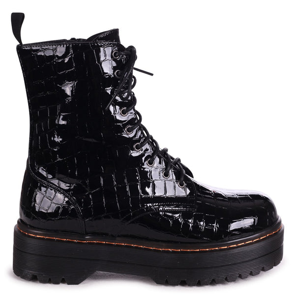 MAE - Black Croc Patent Military Style Lace Up Boot With Chunky Rubber Sole