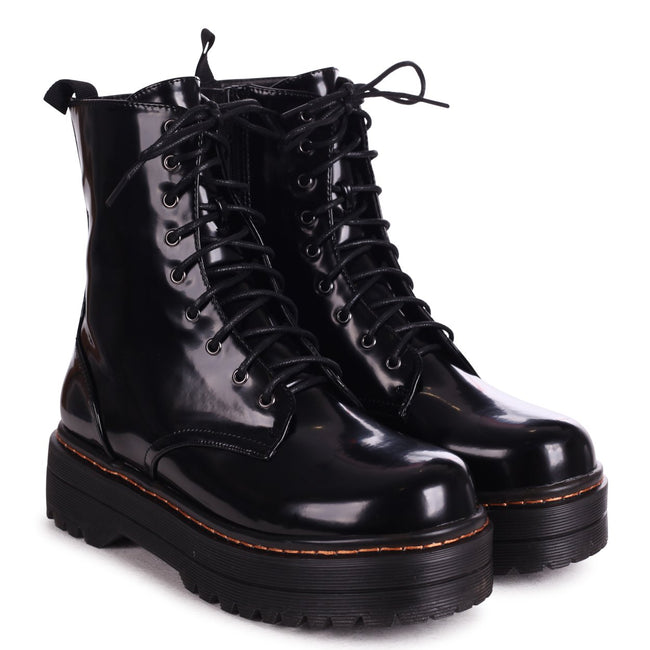 MAE - Black Shine Nappa Military Style Lace Up Boot With Chunky Rubber Sole