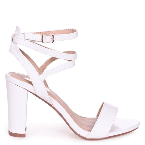 eabd61a0aa4f DANNI - White Nappa Block Heeled Sandal With Cross Over Ankle Strap – AX  Paris