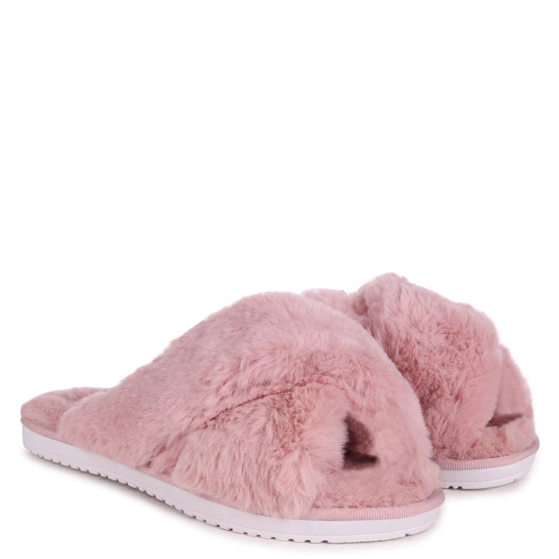 CLOUD - Dusky Pink Fluffy Crossover Slippers