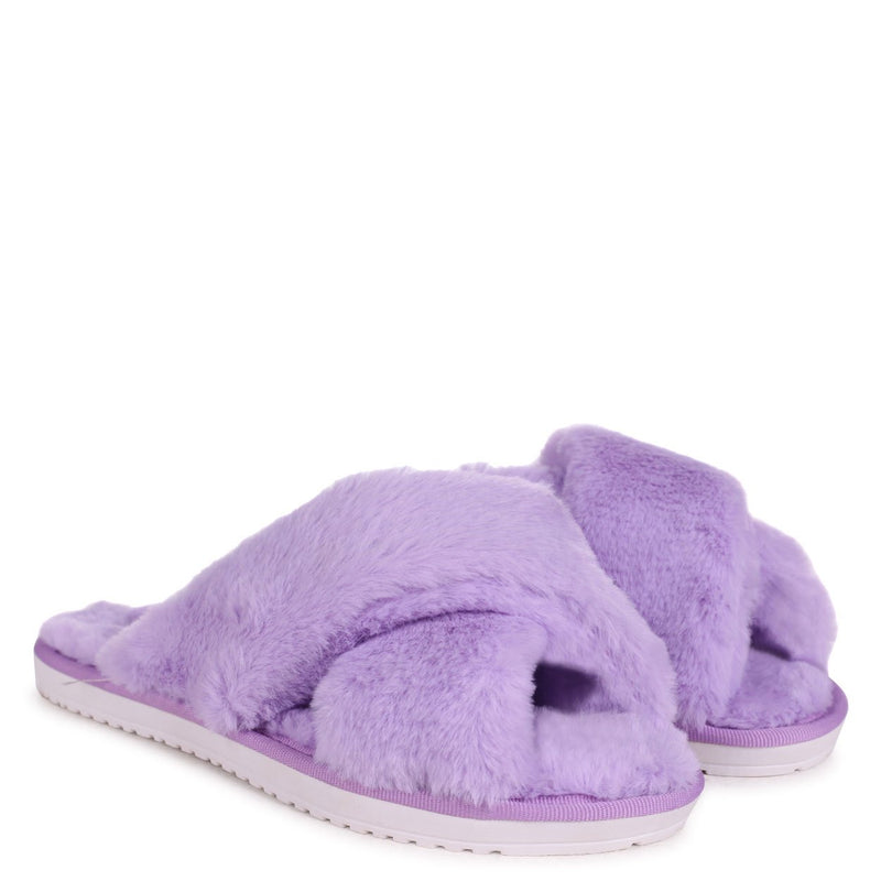 CLOUD - Lilac Fluffy Crossover Slippers