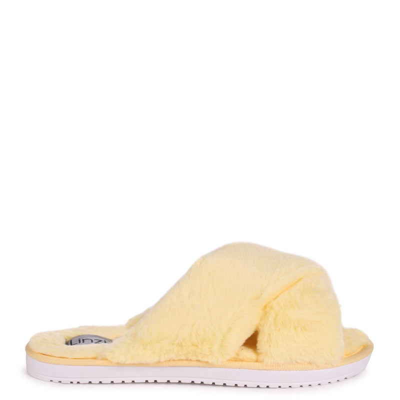 CLOUD - Yellow Fluffy Crossover Slippers