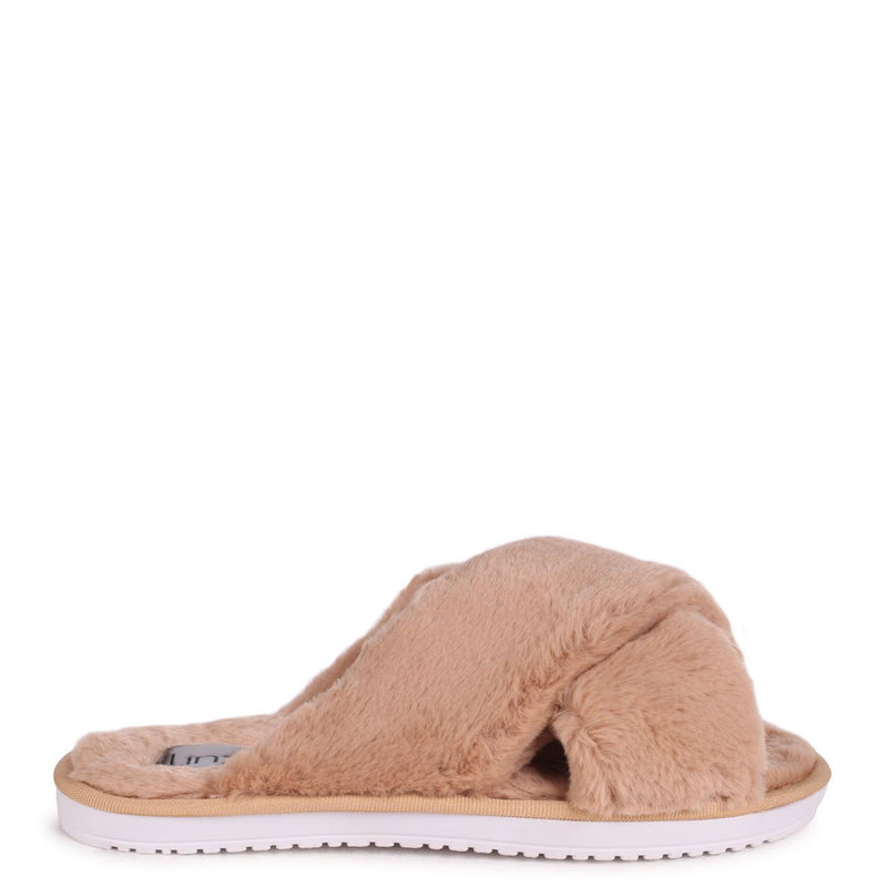 CLOUD - Mocha Fluffy Crossover Slippers