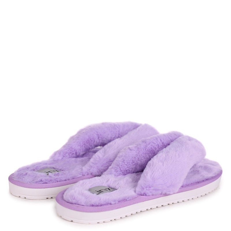 DREAM - Lilac Fluffy Toe Post Slippers