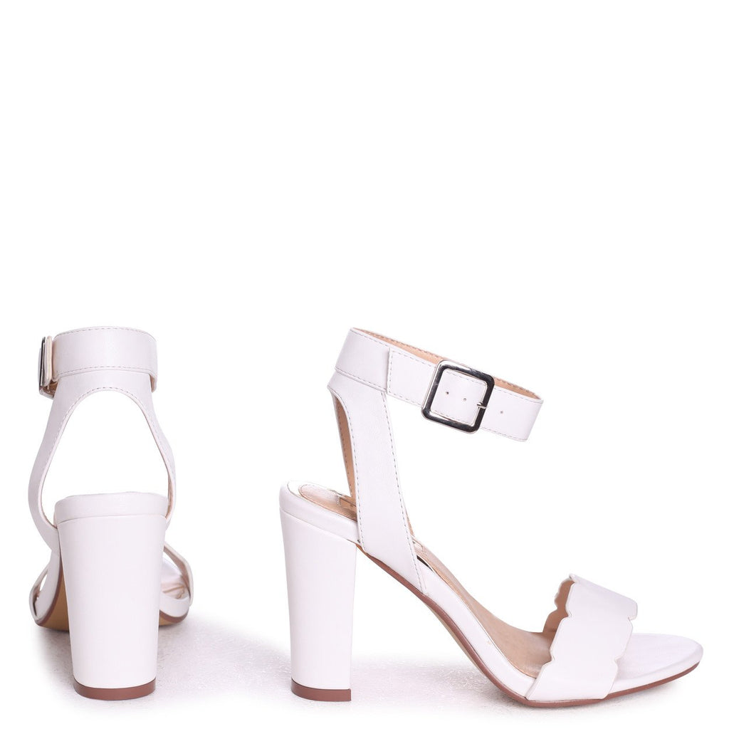 b7a442d4b5 DARLA - White Nappa Open Toe Block Heel With Ankle Strap Wavey Front Strap  Detail