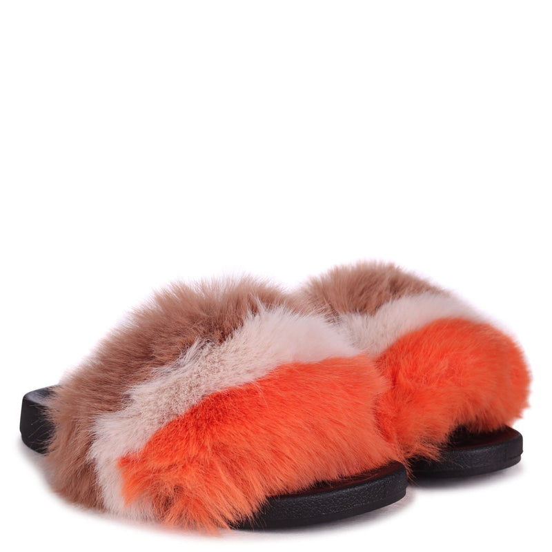 MAISIE - Orange, Brown & Beige Striped Faux Fur Sliders