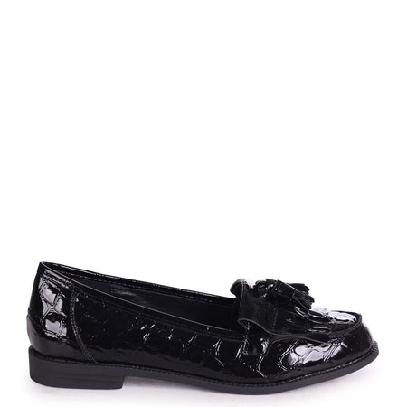 CHIC - Black Lizard Classic Slip On Skater with Organza Bow Front Detail