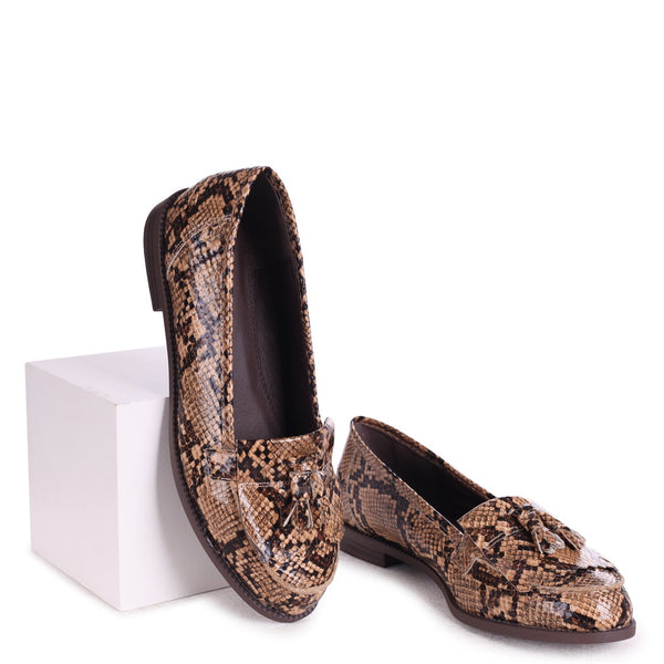 ROSEMARY - Mocha Snake Effect Leather Classic Slip On Loafer