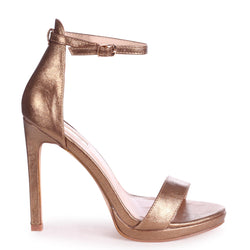 GABRIELLA - Old Gold Metallic Barely There Stiletto Heel With Slight Platform