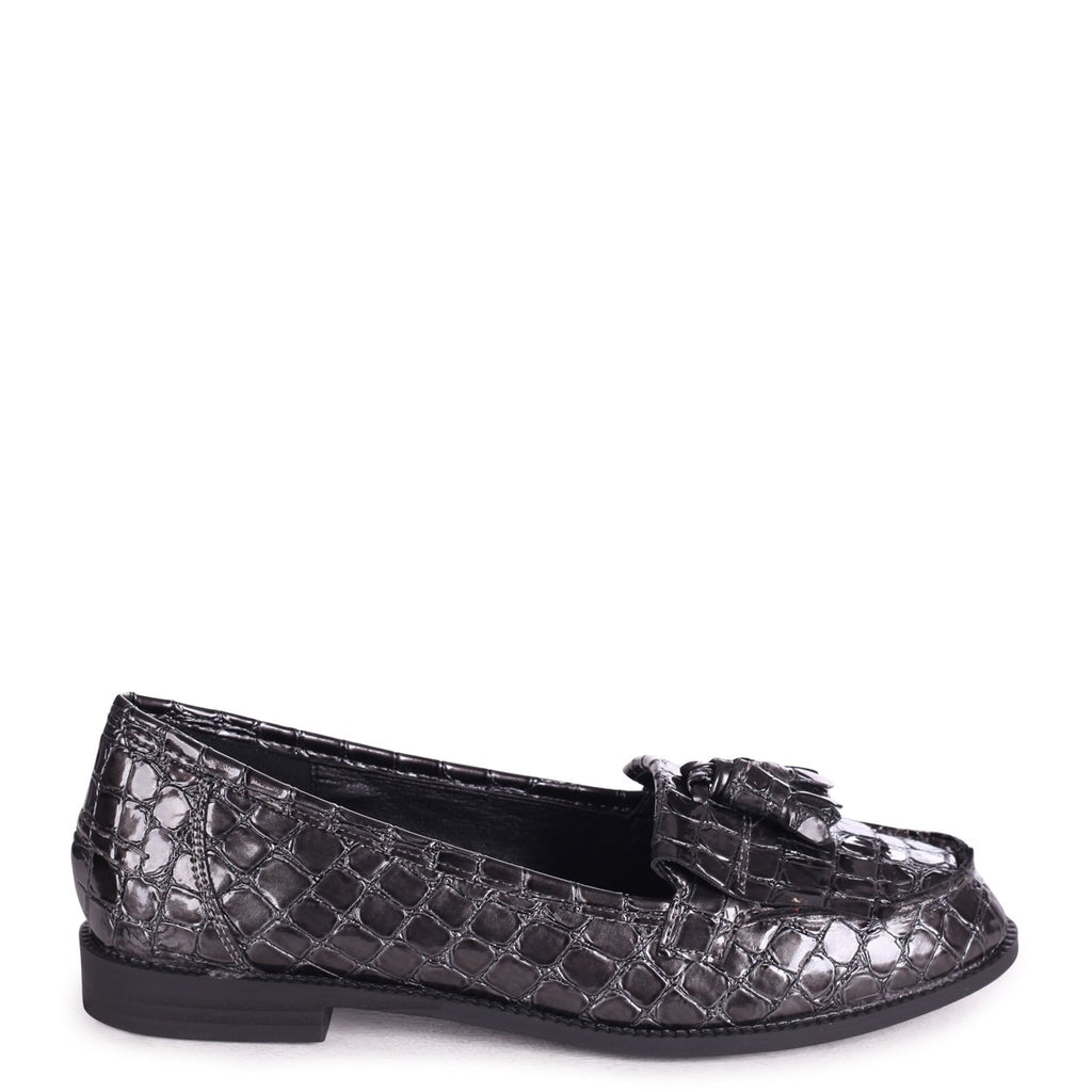 ROSEMARY - Grey Croc Patent Leather Classic Slip On Loafer