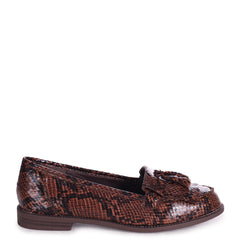 ROSEMARY - Brown Snake Effect Leather Classic Slip On Loafer