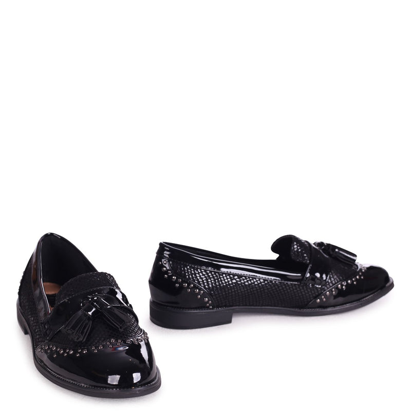 JOANIE - Black Patent & Lizard Slip On Loafer With Tassel and Studded Detail