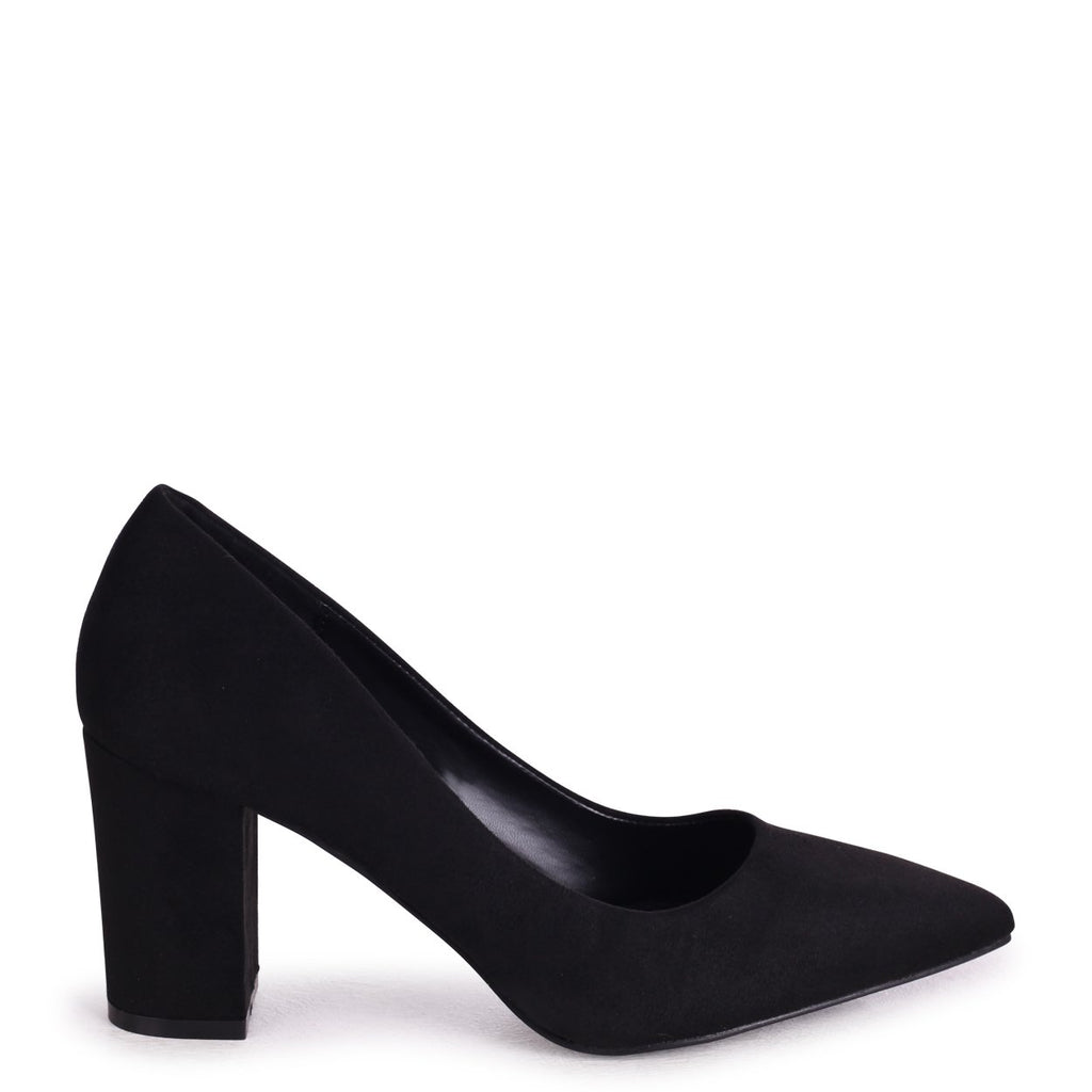 BAMBA - Black Suede Block Heel Court Shoe