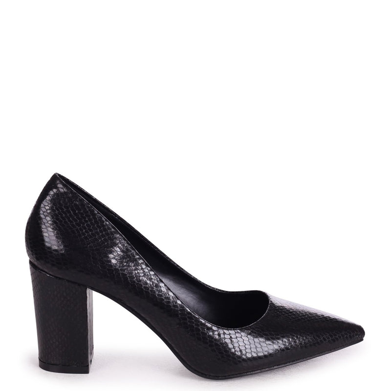 BAMBA - Black Snake Suede Block Heel Court Shoe