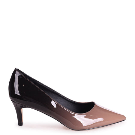LUCINDA - Black Snake Classic Court Shoe With Low Heel