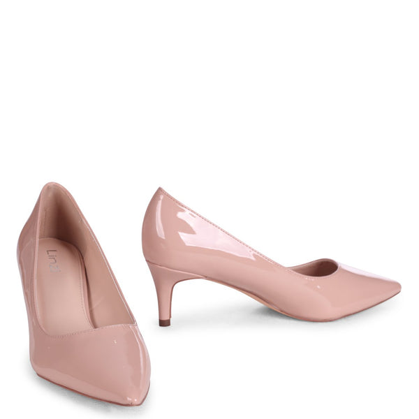 LUCINDA - Nude Patent Classic Court Shoe With Low Heel