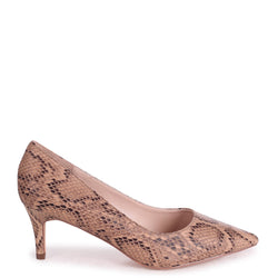 LUCINDA - Beige Snake Classic Court Shoe With Low Heel