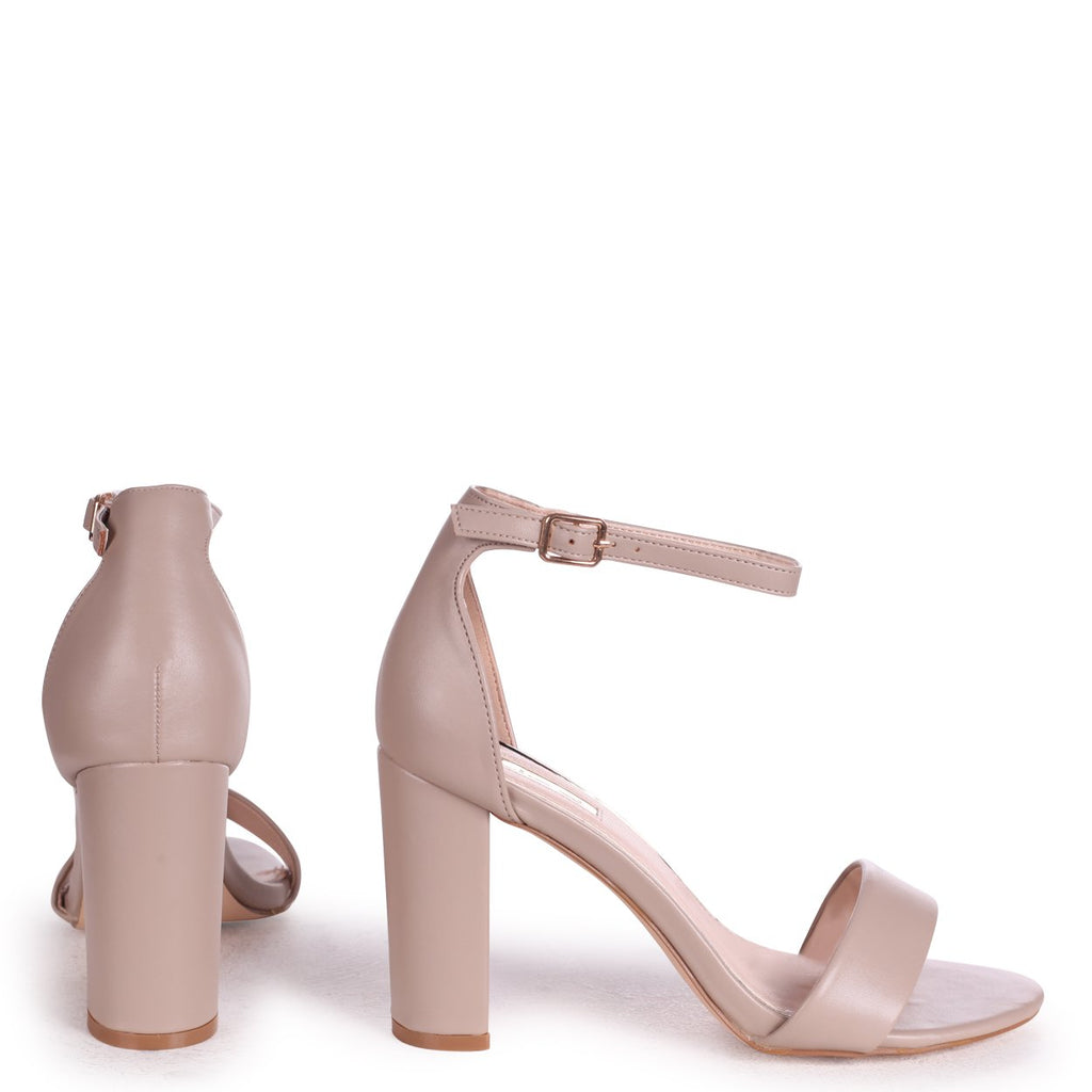NELLY - Taupe Nappa Suede Single Sole Block Heel