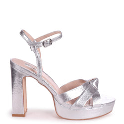 SIMONE - Silver Crinkle Faux Leather Platform With Knot Front Straps & Sandal Back