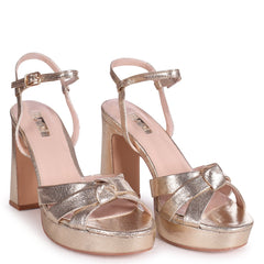 SIMONE - Gold Crinkle Faux Leather Platform With Knot Front Straps & Sandal Back