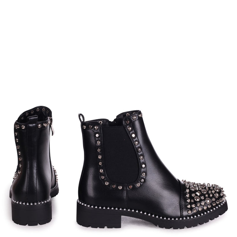 ELLE - Black Nappa Classic Chelsea Boot With Silver Studded Toe & Trim Detail