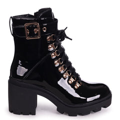 HYPNOTIC - Black Patent Chunky Heeled Military Boot With Rose Gold Eyelets & Buckle