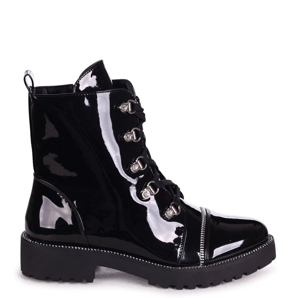 FANTASY - Black Patent Military Boot With Diamante Trim & Eyelets
