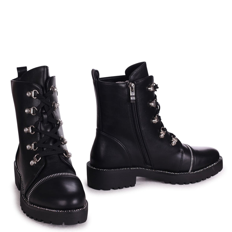 FANTASY - Black Nappa Military Boot With Diamante Trim & Eyelets
