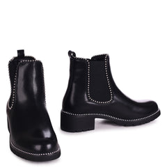 ALANNA - Black Nappa Classic Chelsea Boot With Studded Detail
