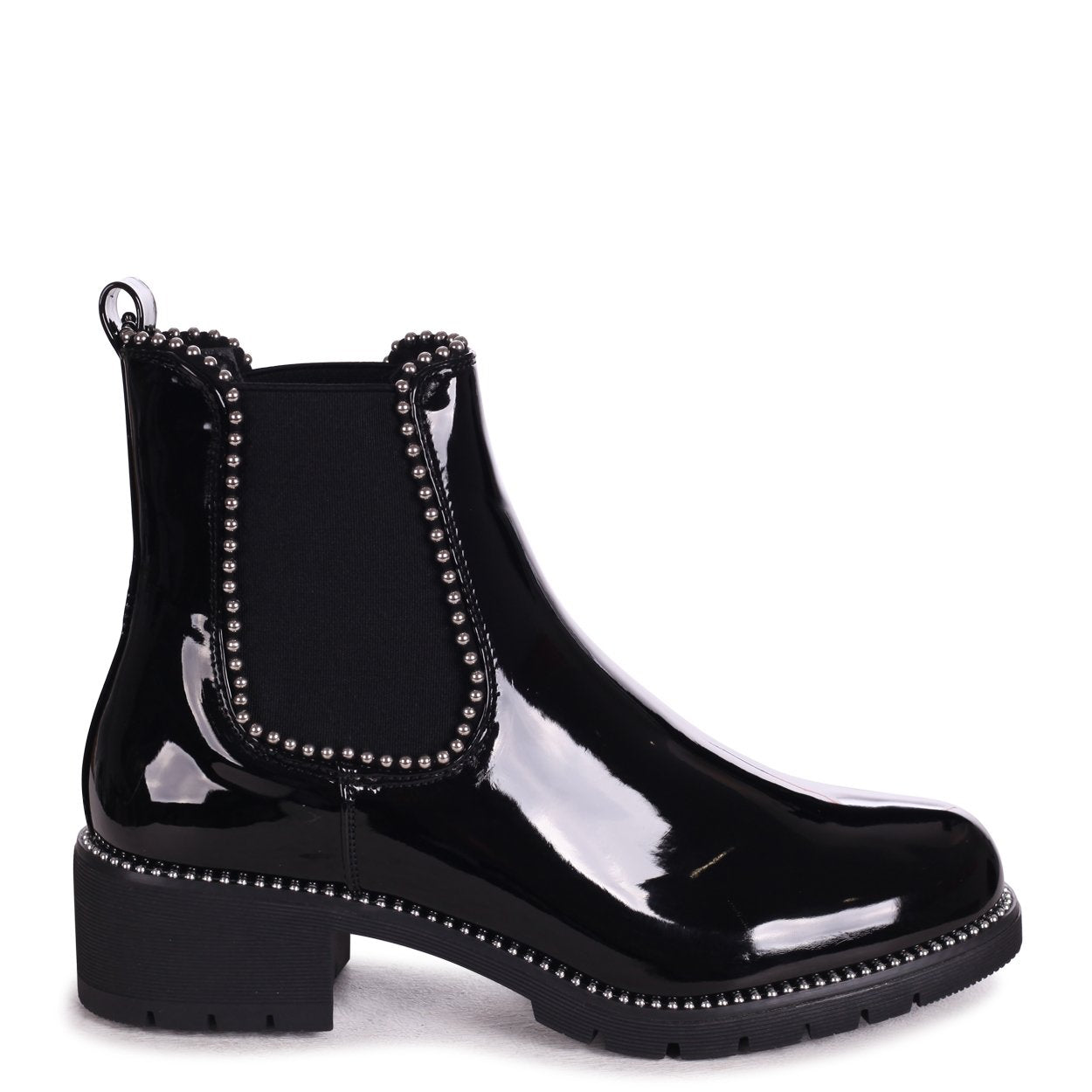 ALANNA - Black Patent Classic Chelsea Boot With Studded Detail