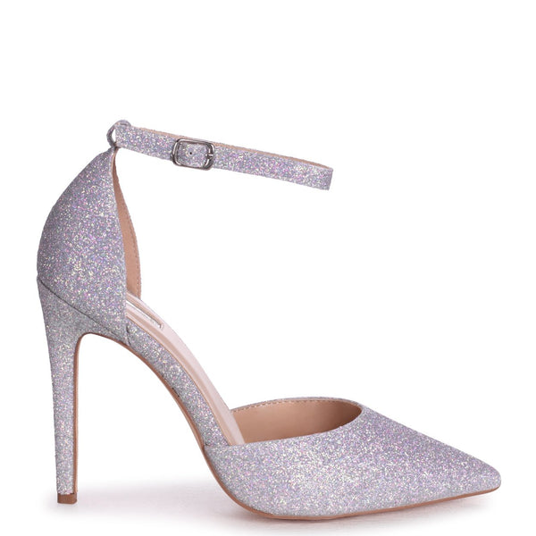 WHITNEY - Silver Glitter Court Heel With Ankle Strap
