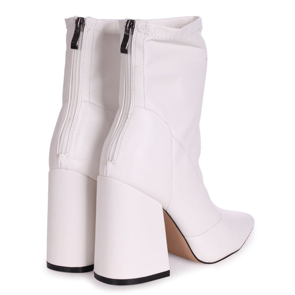 KITTY - White Soft Faux Leather Pointed Block Heel With Back Zip