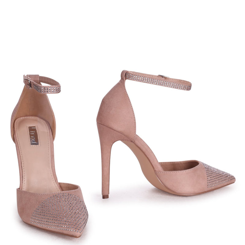 DOVE - Nude Suede Court Heel With Diamante Front & Ankle Strap