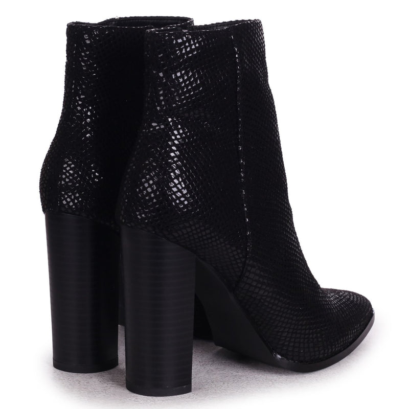 LUCY - Black Lizard Ankle Boot With Stacked Block Heel